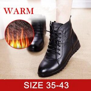 Image 3 - SWYIVY Schuhe Frauen Winter Warme Pelz Stiefeletten Aus Echtem Leder Stiefel Frauen Casual Schuhe Weibliche Bootee Woan 2019 Wasserdichte 43