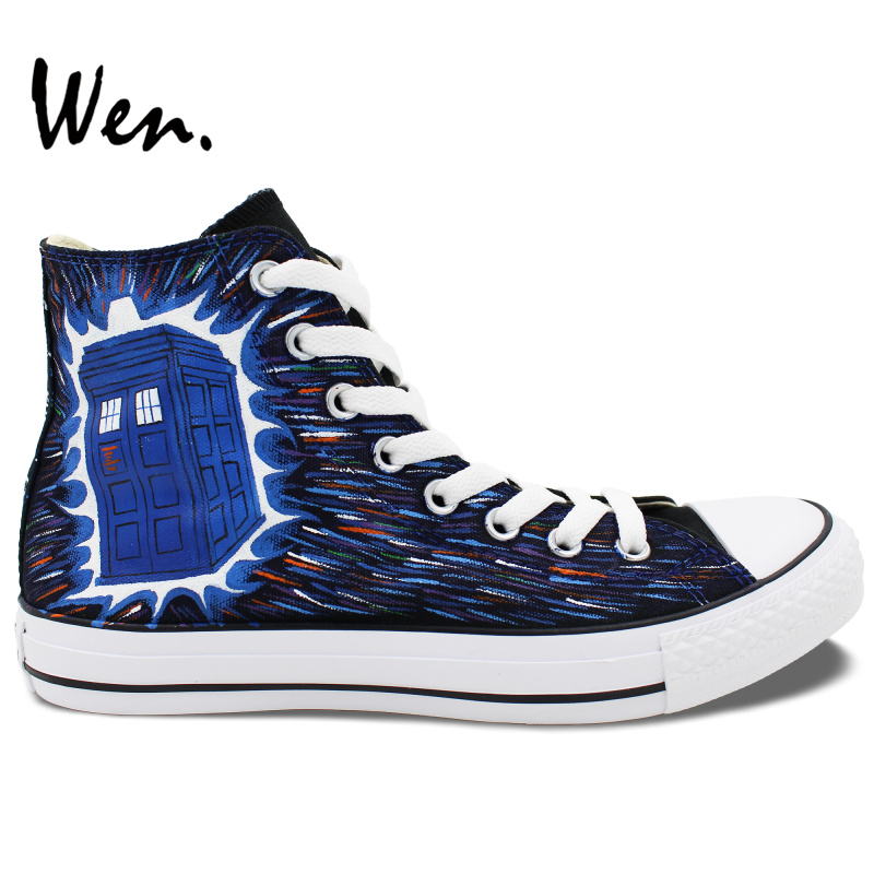 Wen Design Tardis Doctor Who Hand Painted Canvas Sneakers High Top Customized Men Women Outdoor Activities Style Athletic Shoes аниме чашки универсальный товар doctor who tardis 18