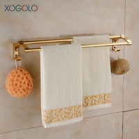 Xogolo Wholesale And Retail Space Aluminum Gold Plating Wall Mounted Double Towel Bar Bathroom Accessories