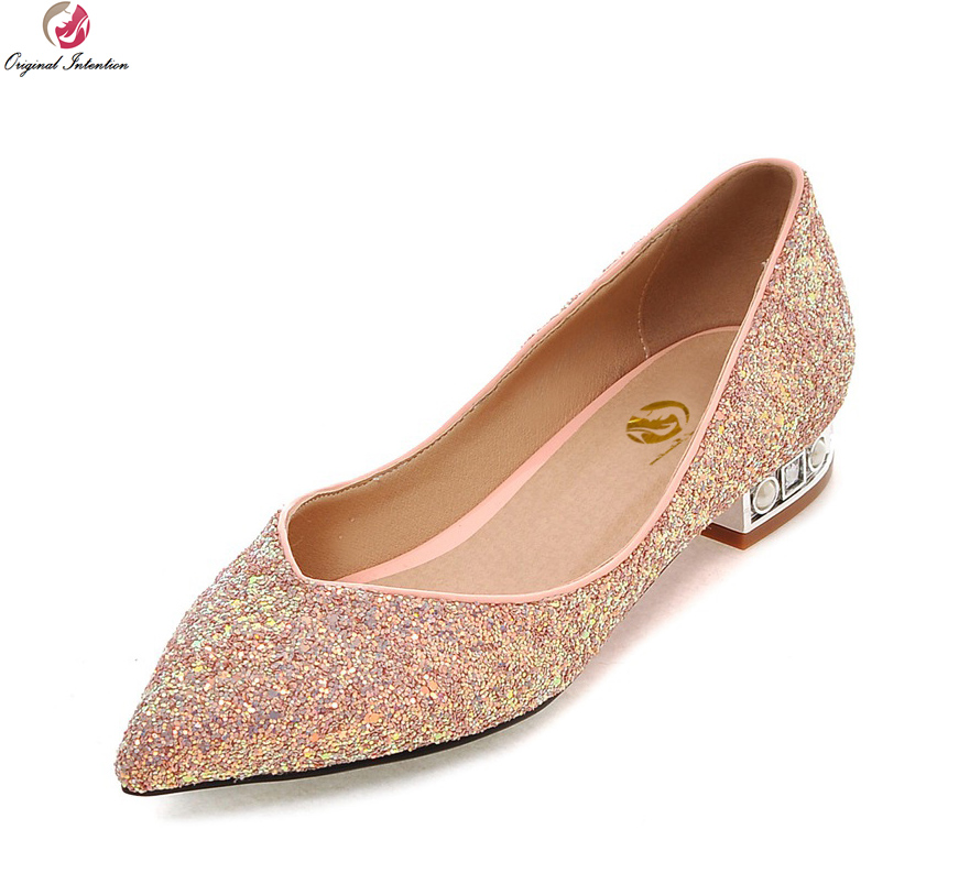 Original Intention Women Flats Stylish Pointed Toe Beautiful Glitter Black Green Pink Shoes Woman Plus US Size 3.5-10.5 gold sliver shoes woman for 2016 new spring glitter bling pointed toe flats women shoes for summer size plus 35 40 xwd1841