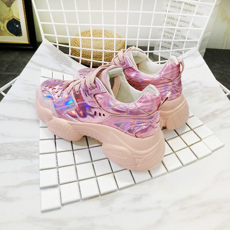 Chaussures argent Rose Cuir À Plate Verni Printemps forme Femmes rouge Décontractées 2019 Lacets Sneakers De Femme 5Kc3ul1JTF