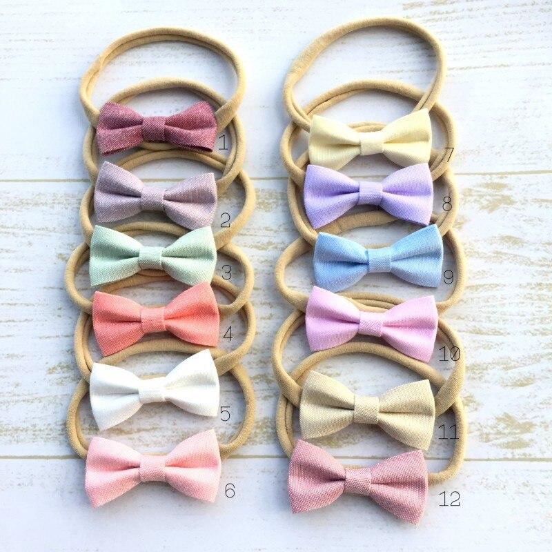 24 pçs/lote Mini Tecido Bow Headband Bebê Faixa de Cabelo de Nylon Macia Cabelo Accessroies