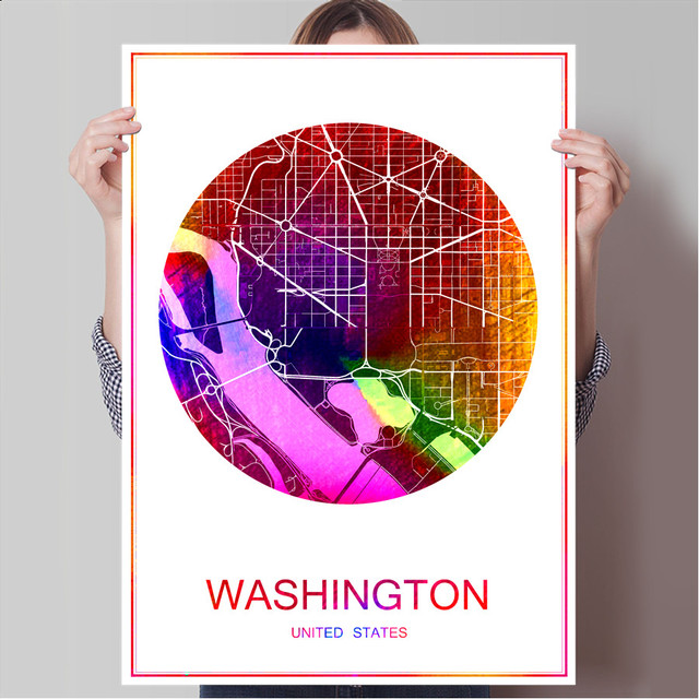 Washington usa world famous city map print poster print on paper or canvas wall sticker bar