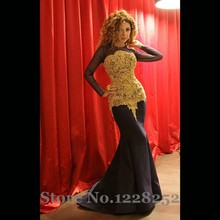 Famous Myriam Fares Evening Dresses with Gold Appliques Sheer Long Sleeves Black Satin Mermaid Evening Gowns Formal Arabic