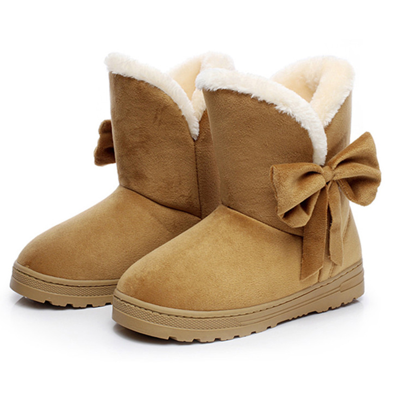 Women Boots Female Warmer Plush Bowtie Fur Suede Flat Slip On Winter Ankle Snow Boots Women's Fashion Platform Black Shoes designer women winter ankle boots female fur lace up snow boots suede plush sewing botas