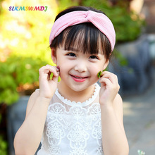 SLKMSWMDJ new childrens hair accessories baby flower girl headdress chiffon cross hairband 5 colors 1 pcs