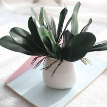 1Pcs real touch phalaenopsis leaf artificial plant leaf decorative flowers auxiliary material flower decoration Orchid leaves(China)