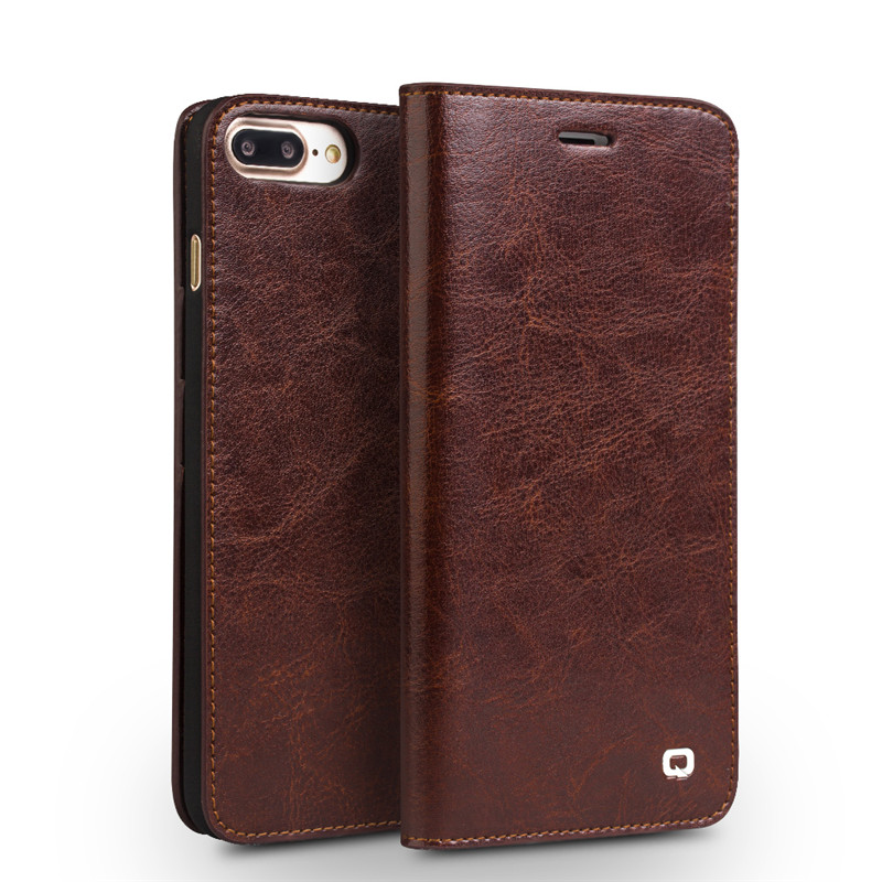 Qialino Genuine Leather Flip Case For IPhone 7 7 Plus Ultra Thin Simple Business Style Cover