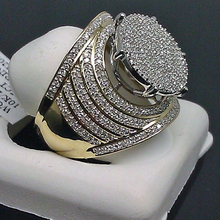 Gorgeous Insert Male Engagement Ring Yellow Gold Color Big Rings