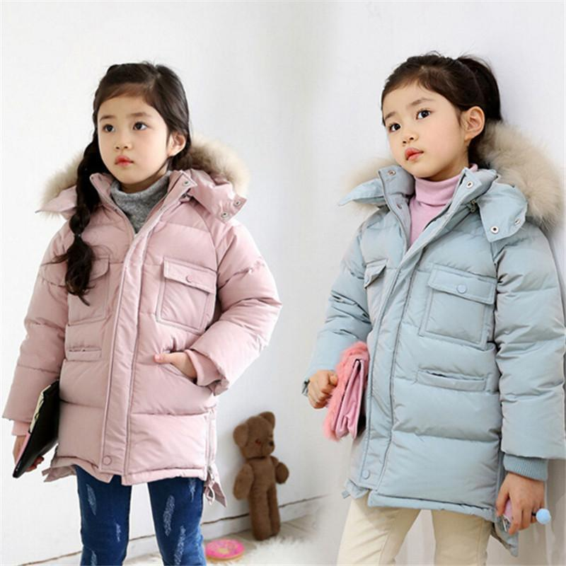 Girls Down Coats Cold Winter 2018 Hooded Fur Outerwear Pink Blue Children Warm Down Jackets 3 5 7 9 10 11 13 Years Thick Clothes new fashion baby girls jackets fur collar winter kids warm thick hooded children outerwear coat girls clothes 2 3 4 5 6 7 years