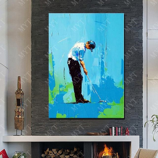 New design abstract play golf oil painting living room wall pictures modern canvas wall art for Moderne badkamer deco ideeen