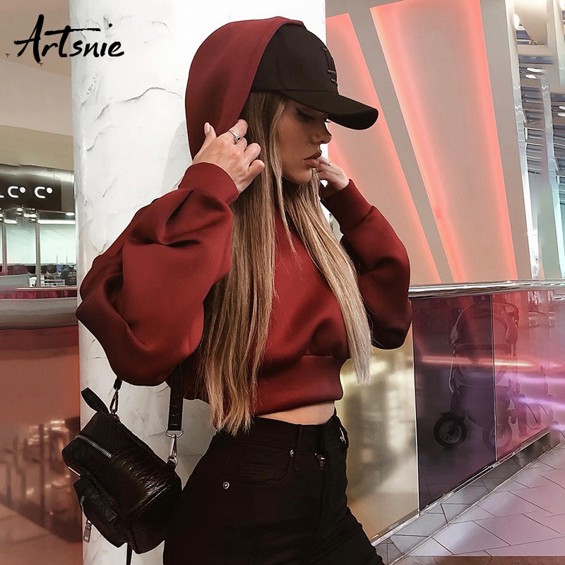 Artsnie Winter 2018 Wine Red Casual Crop Hooded Sweatshirts Women Knitted Long Sleeve Short Pullovers Autumn Oversized Hoodies