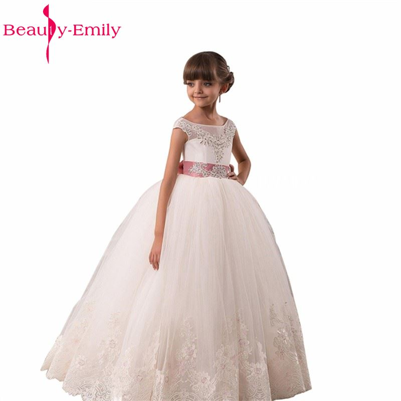 Beauty-Emily   Flower     Girl     Dresses   2017 For Wedding Lace Appliques Beads Puffy   Girls   Pageant Gowns Lace Up Bow Birthday   Dresses