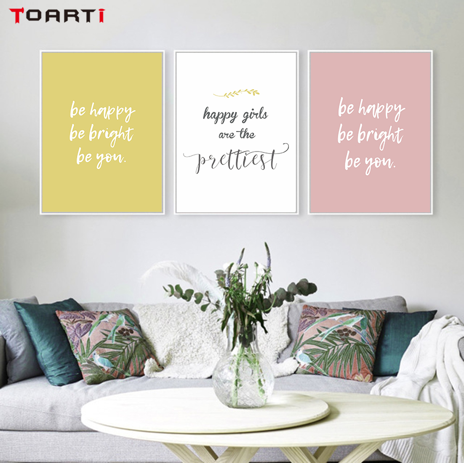 Girls Be Happy Inspiring Quotes Wall Art Posters Prints Nursery Painting For Living Room Wall Decoration Pictures Christmas Gift Painting Calligraphy Aliexpress