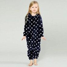 Детская модная Пижама с точками для сна для мальчиков и девочек, фланелевый комбинезон с длинными рукавами и капюшоном, спортивный костюм, пижама для детей,# Q15fd