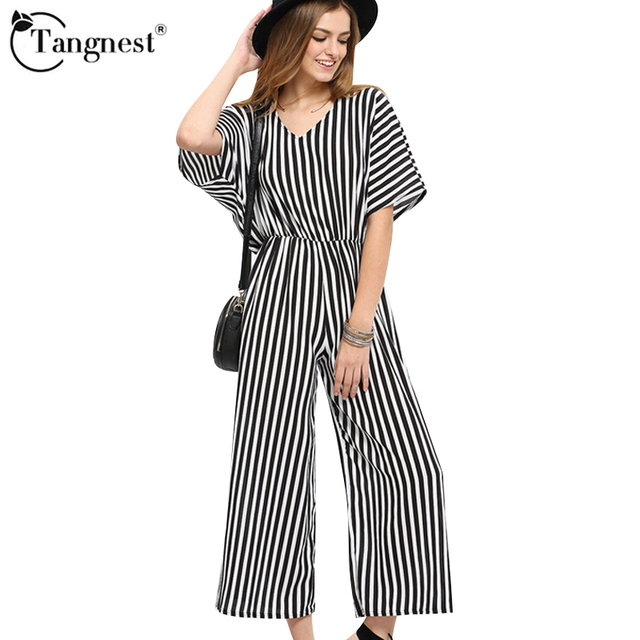 TANGNEST Women Summer Jumpsuits 2017 New Designed Loose Style Striped Size S-XXL Ankle-Length Ladies Rompers WKL783
