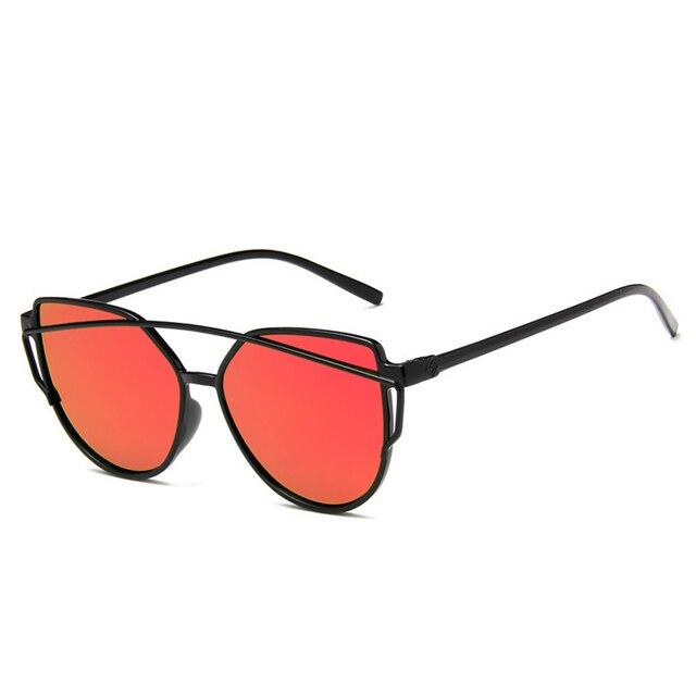 9cdc2eaf37 2018 Cat Eye vintage Brand designer rose gold mirror Sunglasses For Women  Metal Reflective flat lens Sun Glasses Female oculos