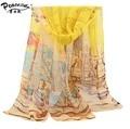 Feminino Spring Summer Sunscreen bandana Georgette silk Scarf Thin Large Cape Beach Towel scarves