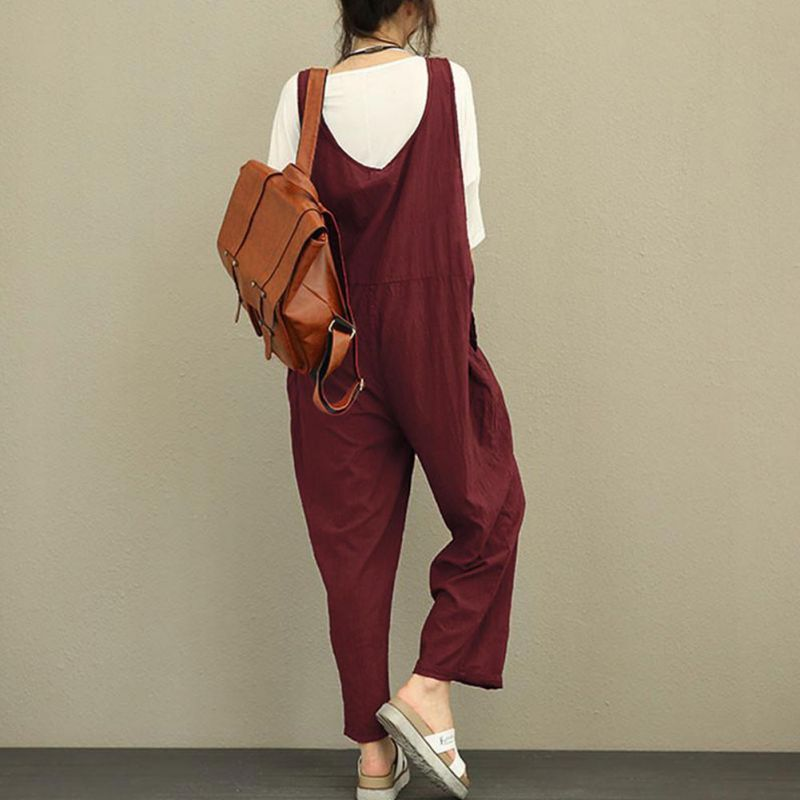 Womens Rompers Jumpsuits Fashion Womens Loose Strapless Playsuits Oversized Casual Dungaree Harem Bodysuits