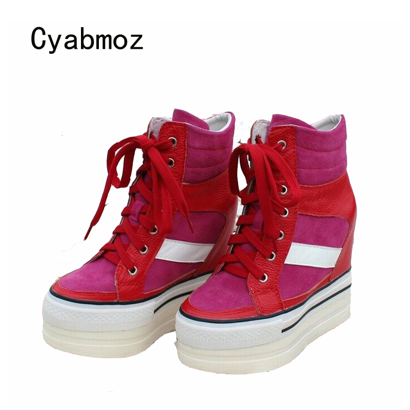 Cyabmoz Wedge Women Shoes Woman High Heels Genuine Leather Platform Mixed Colors Shoes Zapatillas Zapatos Mujer Tenis Feminino цена и фото