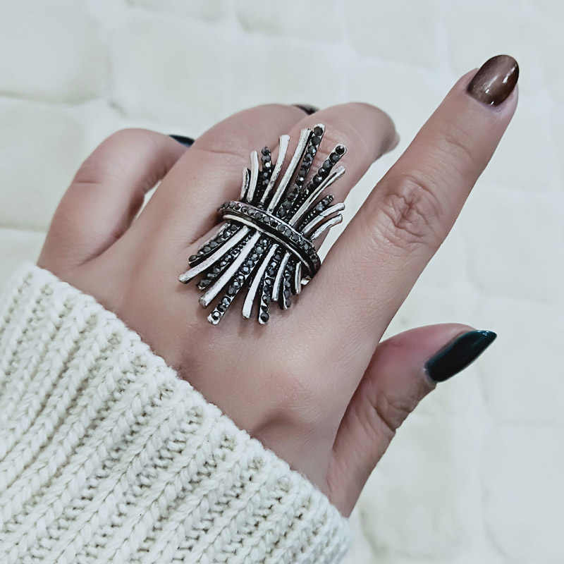 SINLEERY Unique Antique Silver Color Vintage Boho Black Cubic Zirconia Wide Finger Ring for Women Christmas Gifts Jewelry JZ614