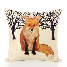 45*45cm 15 Style Nordic Fox Bear Linen Dachshund Giraffe Hedgehog Lion Pug Squirrel Cushion Cover Sofa Throw Pillow Car Case