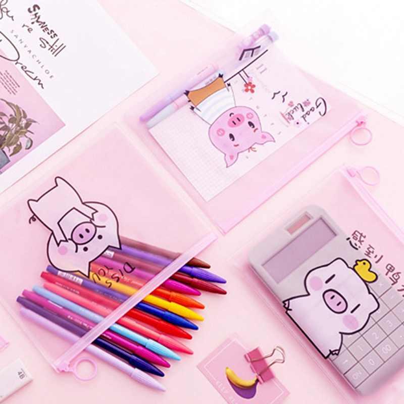 Porco Cor de Rosa bonito Lápis Caixa Transparente Caixa de Lápis Material Escolar Papelaria Criativa Presente Anel Zipper Bolsa da Menina