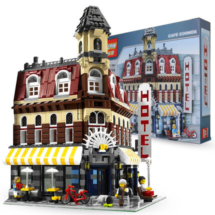 the legoinglys New 2133Pcs LEPIN 15002 Cafe Corner Model Building Kits Blocks Kid Toy Gift Compatible With 10182 lepin15003 2859pcs city series the town hall model building kits blocks kid toy gift compatible with 10224