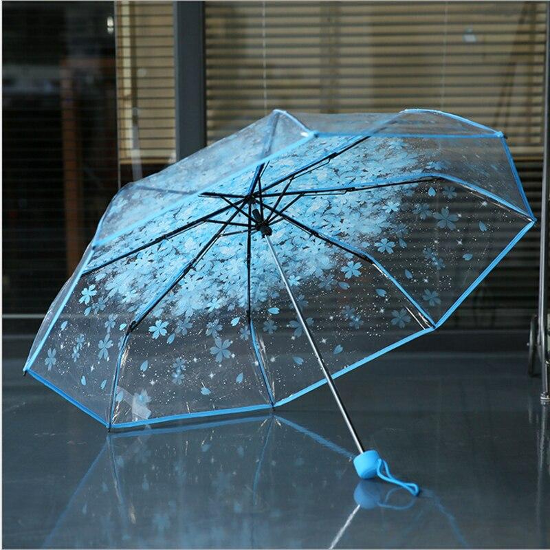 달콤한 패션 여자 우산 꽃 우산 벚꽃 투명 우산 신선한 파라솔 여성 로맨틱 파라과이 Mujer 선물 US049