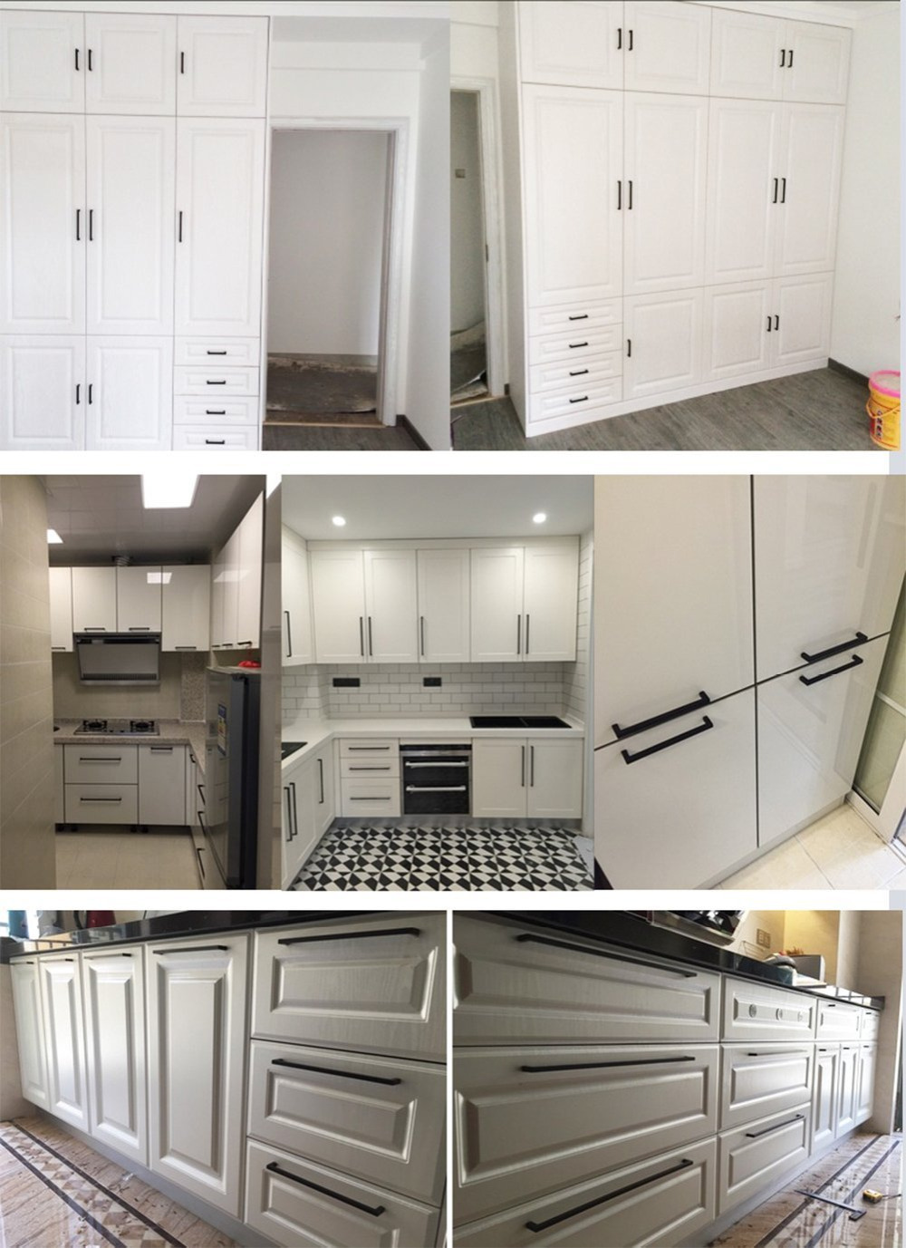 Kitchen Cabinet Door Handles Stainless Steel Black Square