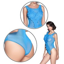 Floral Lace Open Sides Sleeveless Bodysuit Catsuit