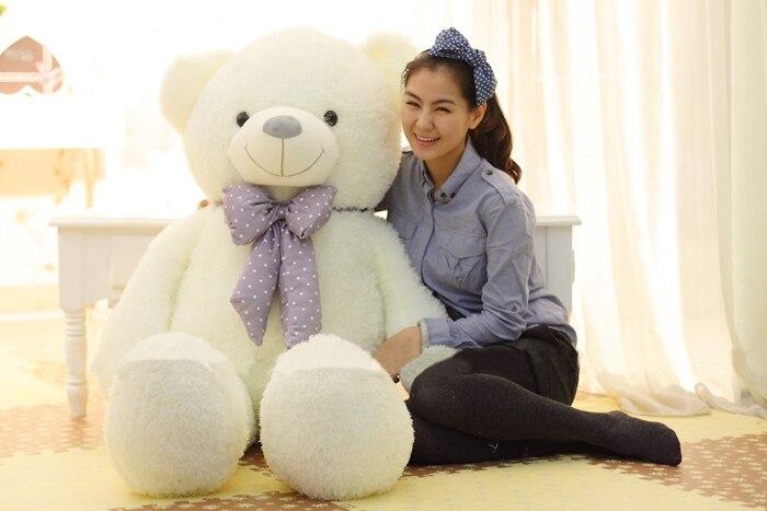 Peluche 100 cm Huggy ours en peluche ours blanc poupée jeter oreiller cadeau w3351
