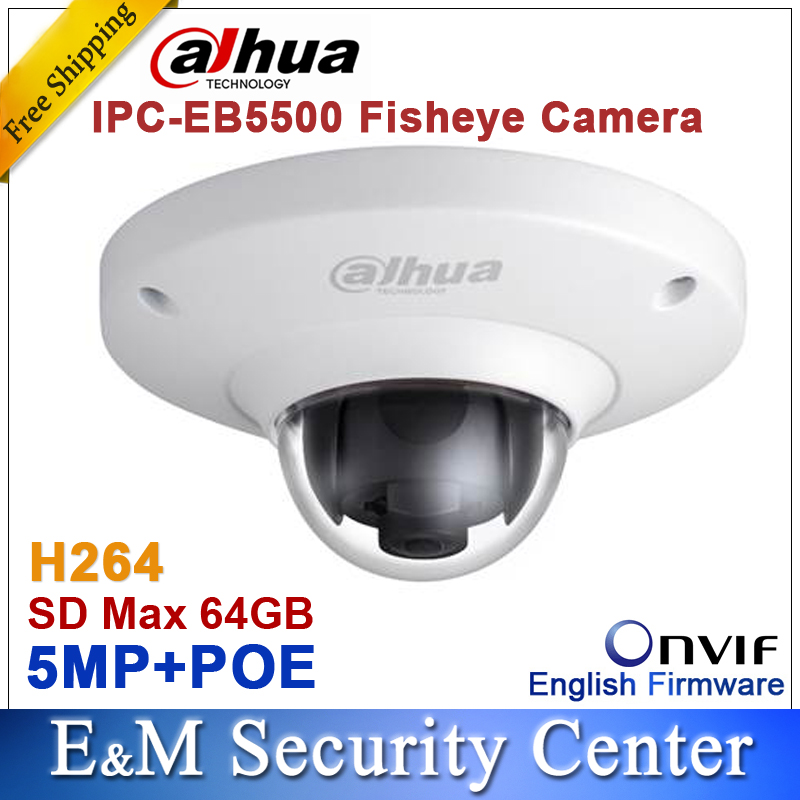 imágenes para Original dahua 5MP Red a prueba de Vandalismo Fisheye CCTV IP H264 POE Cámara de INFRARROJOS IPC-EB5500