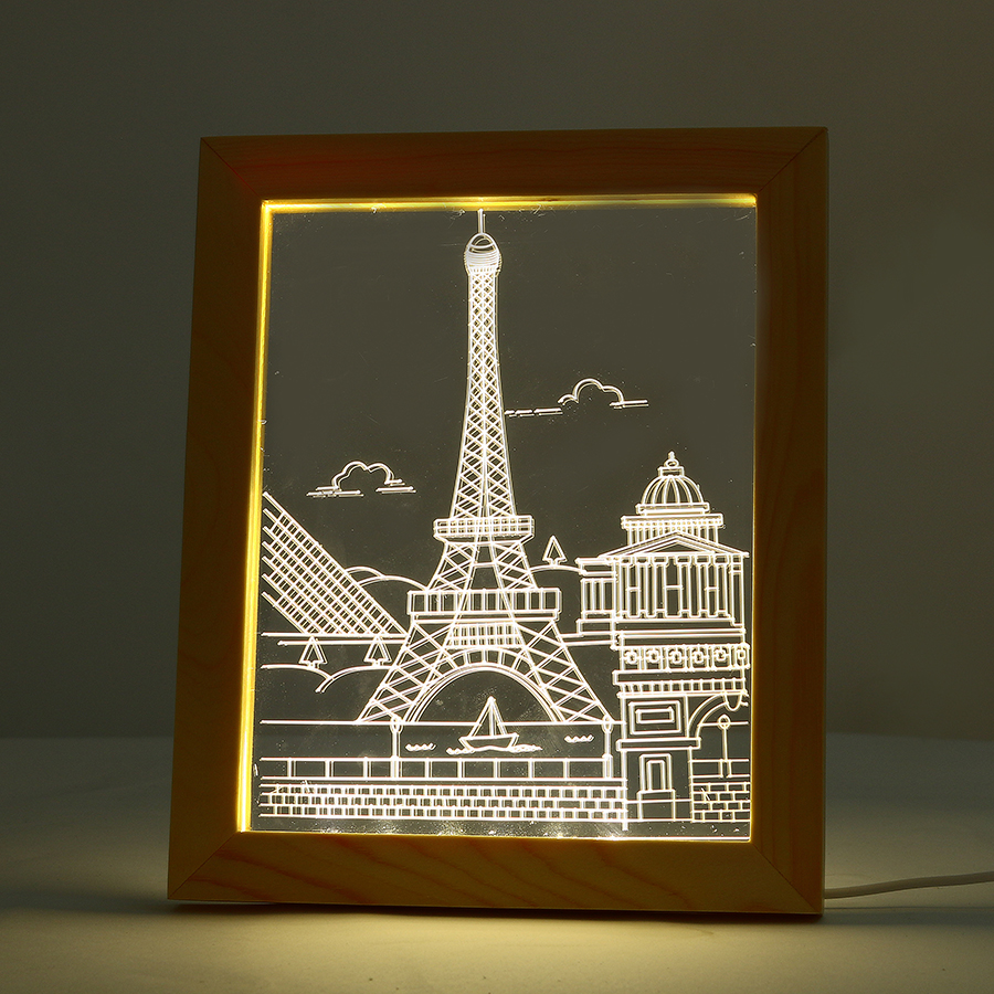 FL-712 3D Photo Frame Illuminative LED Night Light Wooden Eiffel Tower Christmas USB Lamp In-Outdoor Faily Decoration Lights