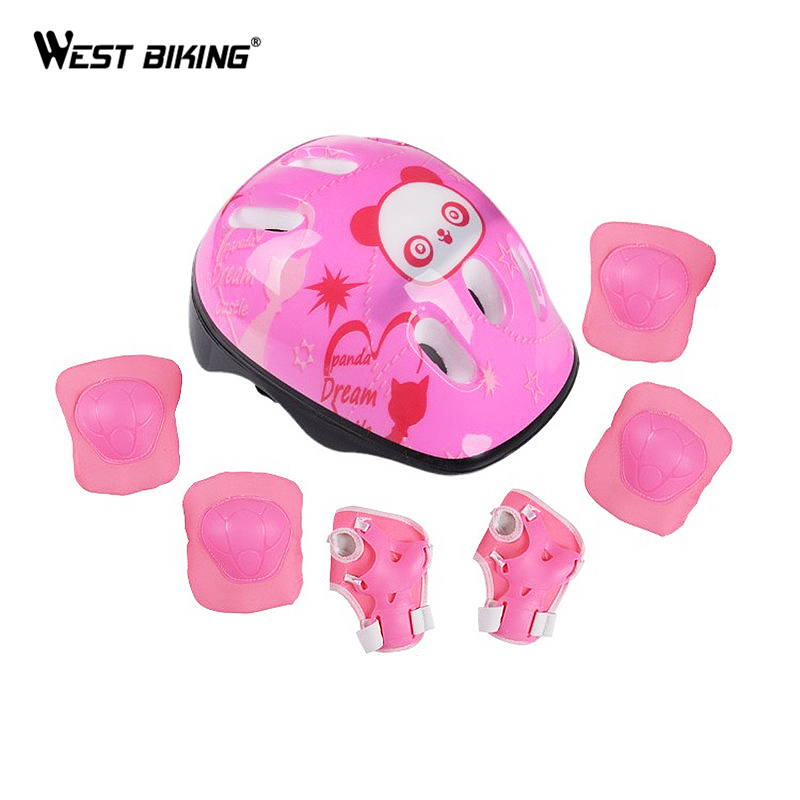 WEST BIKING 7 pcs/set Skating Protective Gear Sets Elbow pads Bicycle Skateboard Ice Skating Roller Knee Protector For Kids