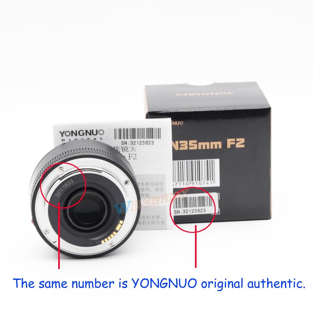 Image 5 - YONGNUO YN 35 مللي متر F2 كاميرا عدسات لنيكون كانون EOS YN35MM العدسات AF MF واسعة زاوية عدسة ل 600D 60D 5DII 5D 500D 400D 650D 6D 7Dlens for canon 600d35mm lenslens for canon -