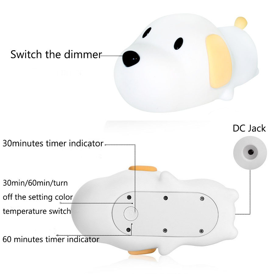Image 3 - Silicone Cartoon Puppy Dog Touch Sensor LED Night Light Baby Children Bedroom LED Night Lamp USB Atmosphere Novelty Light-in LED Night Lights from Lights & Lighting