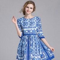 Nueva primavera y verano media manga a-line Delgado estilo chino imperio elegante Calle impresión popular Buena calidad especial señora vestido