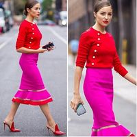 Candy Colorful Ladies HL Bandage Dress Long Sleeve Sexy Bodycon Mid Calf Dress Celebrity Fashion Dress