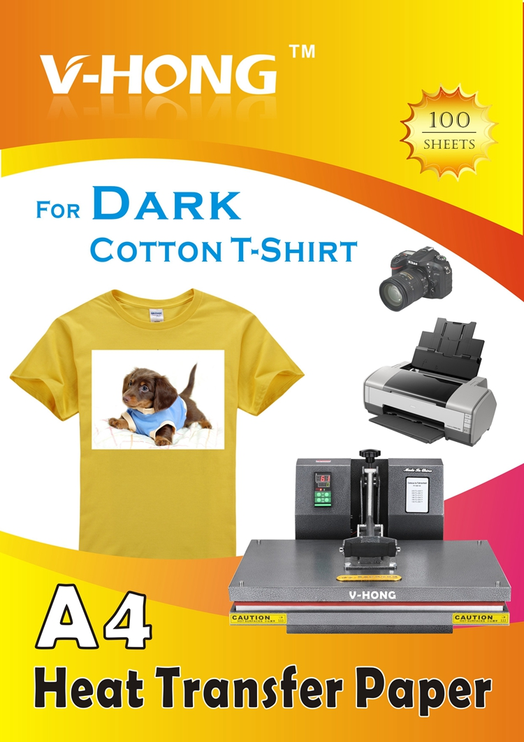 Black t shirt transfer paper - Dark T Shirt Red Black Yellow Color Cotton Clothes Sublimation Heat Transfer Paper A4 Yiwu