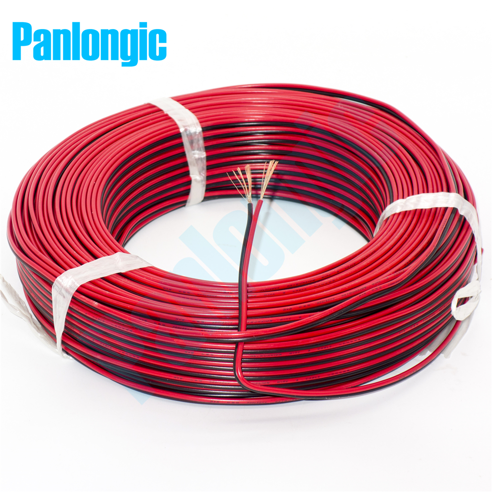 5 Meters <font><b>2</b></font> <font><b>Pin</b></font> Red and Black RVB Electronic Wire <font><b>0.75</b></font> Square <font><b>mm</b></font> PVC Parallel Copper Electronic <font><b>Cable</b></font> for LED Battery image