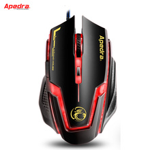 APEDRA USB Wired Gaming Mouse 3200DPI Adjustable Ergonomics Optical Mouse Mice for PC Computer Laptop for CSGO LOL DOTA Gamer