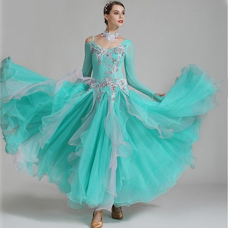 Ballroom Dance Competition Dress Smooth Ballroom Dress Pattern Foxtrot Dance Dresses Rumba Dress Costume Dance Wear Women Green