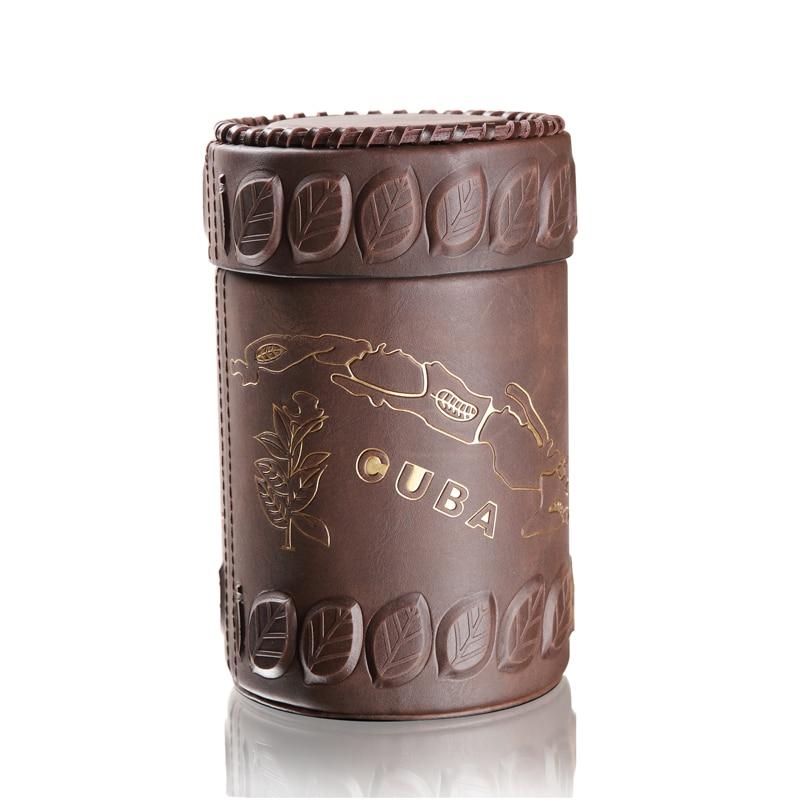Cuban Map Pattern Leather Wood Lined Cigar Case Jar Large Size 25 CT Cigar Hermetic Jar