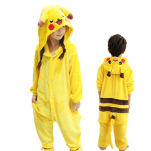 e8d20c4960 Lindo niños Pijamas Unisex niños franela Pijamas Animal Cartoon Pokemon  Pikachu Pijamas capucha invierno Niña niño ropa de dormi.