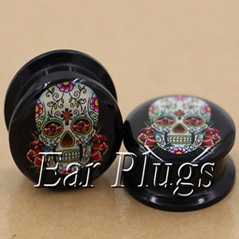 1 pair sugar skull ear plug gauges tunnel acrylic screw flesh tunnel body piercing jewelry PAP0275