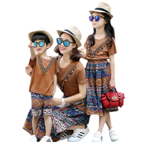 mom and daughter matching clothes 2017 family clothes top bohemian tassel short sleeve t shirt+skirts/shorts family set clothes