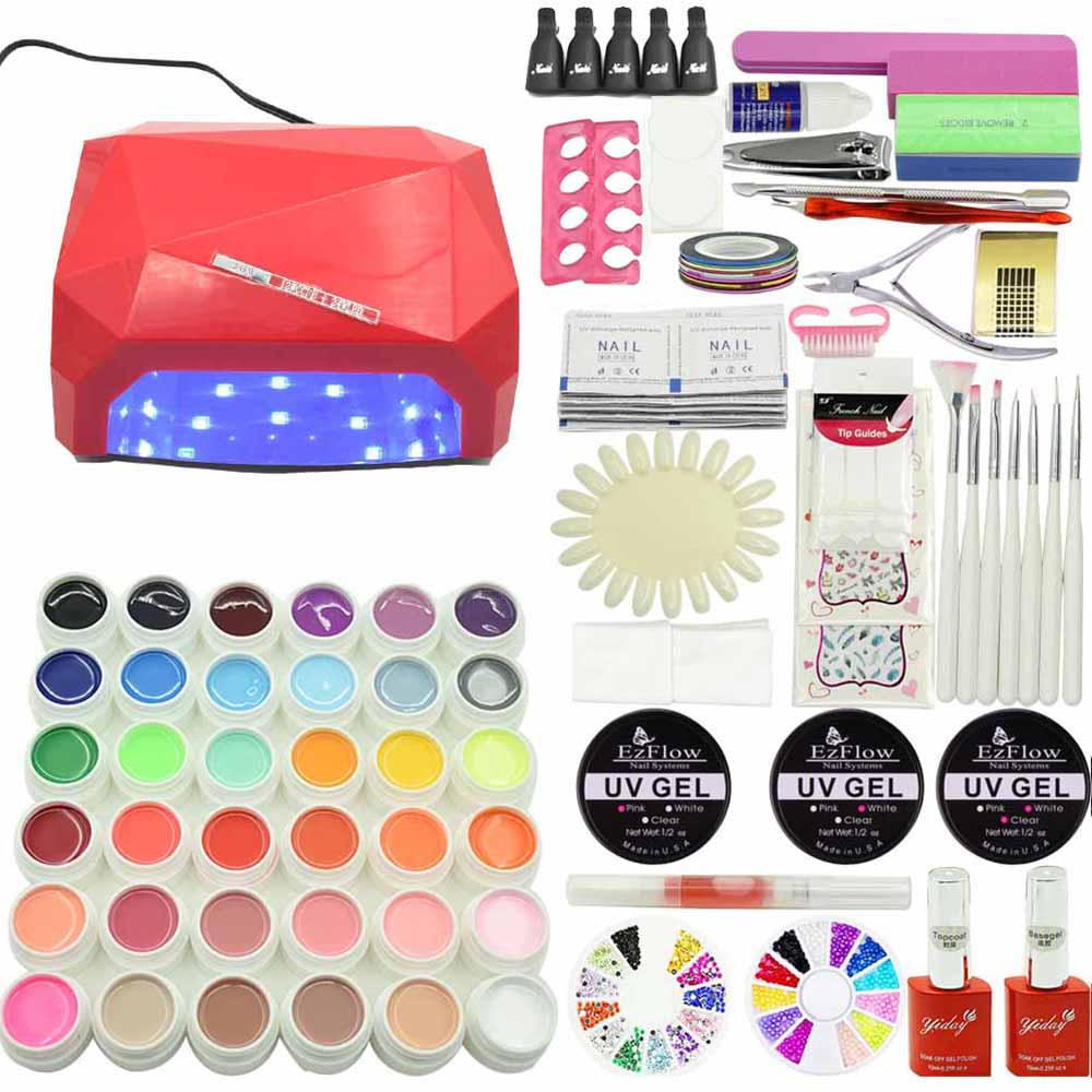 Jewhiteny Nail Gel Soak-off Gel polish Top & Base Coat gel nails polish kit 36W LED lamp 36 colors art tools kits sets manicure nail art tools manicure sets 18w uv lamp nail dryer 6 colors soak off gel nail polish top gel base coat nail kits