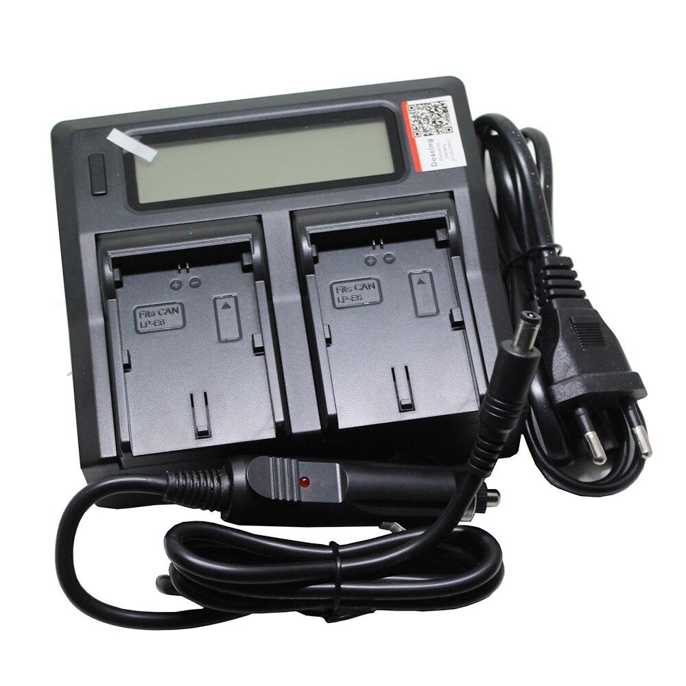 LC-E6 LP-E6 LP E6 Bateria Da Câmera Rápida LCD Carregador Duplo com Porta USB para CANON DSLR EOS 60D 70D 5D3 7D 6E 5D Mark II III SLR