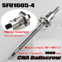 BallScrew SFU1605 4 1000mm Ball Screw C7 With 1605 Flange Single Ball Nut BK BF12 End